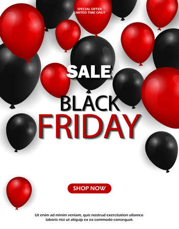 Black friday sale background with balloons. 3d stylized red color letters with glossy balloons.
