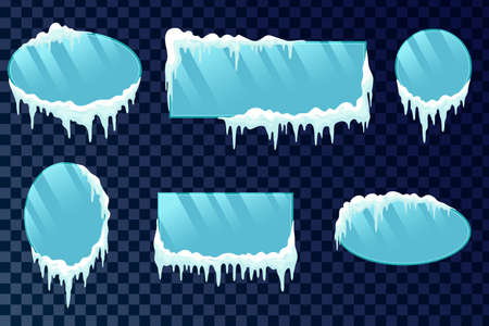 Icicles boards set. Vector frozen ice icicle frames for sale or winter school isolated. Frames with snow and ice.