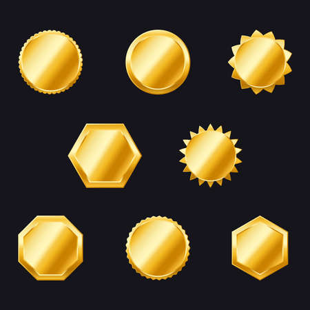 Gold badges. labels and shields vector collection. ornate gold frame collection set. Golden seal