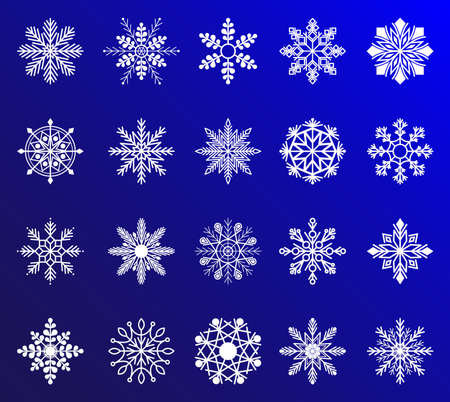 Snowflake vector icon background set white color. Snowflake icons. Snowflakes collection for design Christmas and New Year banner
