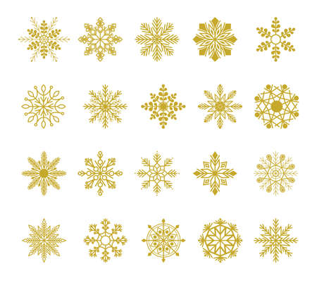 Winter set of white snowflakes isolated on background.  Snowflake icons. Snowflakes collection. Xmas frost flat isolated silhouette symbol Illustration