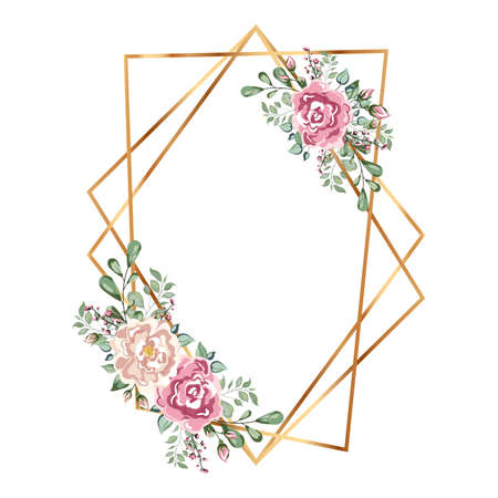 Gold frame with flowers. Geometric crystal polyhedron shape on white background. Just for you handwriting monogram calligraphy.