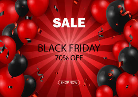 Black Friday sale typographic design. Red background with red and black balloons for seasonal discount offer