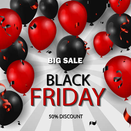 Black Friday Sale poster with shiny balloons and confetti. Universal vector background for poster, banners, flyers, card. Illustration