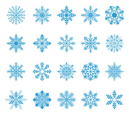 Set of snowflakes. Winter blue christmas snow flake crystal element. Weather illustration ice collection. Xmas frost flat isolated silhouette Illustration