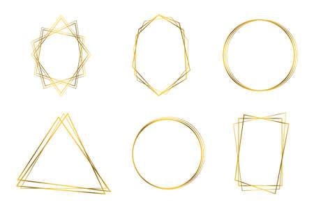 Luxury geometric polyhedron, wedding invitation deco style design.  イラスト・ベクター素材