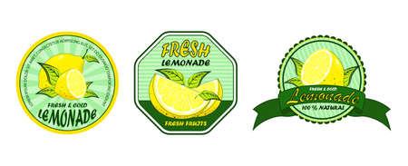 Lemonade set for label design. Lemonade badges set. Lemon syrup, fresh lemonades emblems and lemons fruits.