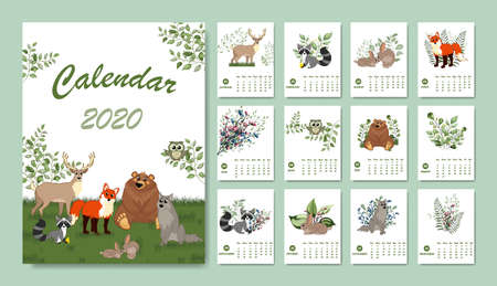Forest calendar for 2020 year. Printable planner of 12 months with cute animals. Bear, fox, rabbit, wolf, deer, raccoo.  Cute forest animals.  Woodland characters.