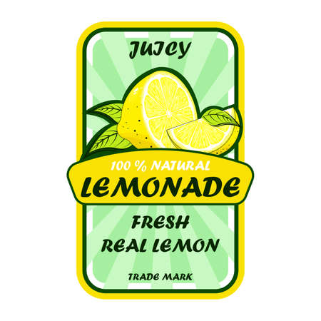 Lemonade poster with modern calligraphy and lemon.  イラスト・ベクター素材