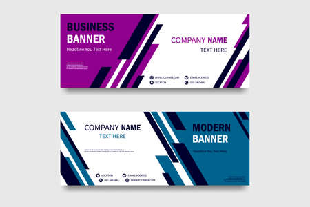 set of horizontal banners with triangular shapes. Vector abstract banner design web template  イラスト・ベクター素材