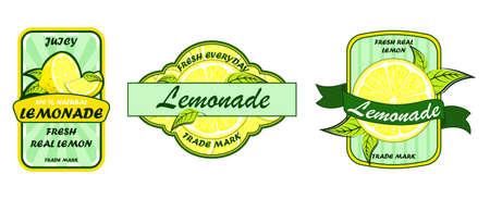 Lemonade badges set. Lemon syrup, fresh lemonades emblems and lemons fruits. Lemon juice or fruit syrup lemonade vector labels or logo  イラスト・ベクター素材