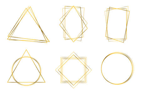 Golden geometric frames. Detailed Golden Polygonal Frames Thin Line Set for Invitation Decoration. abstract shapes templates for design wedding invitation