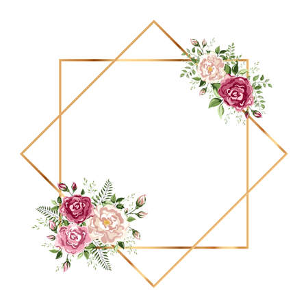 Isolated Gold geometric frame or polyhedron with leaves and rose. You can put leaf or flower on top or bottom for make elements in romantic theme