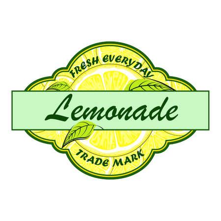 Lemonade badge. Lemon syrup. Lemon labels. Retro badges for cold juice.  イラスト・ベクター素材