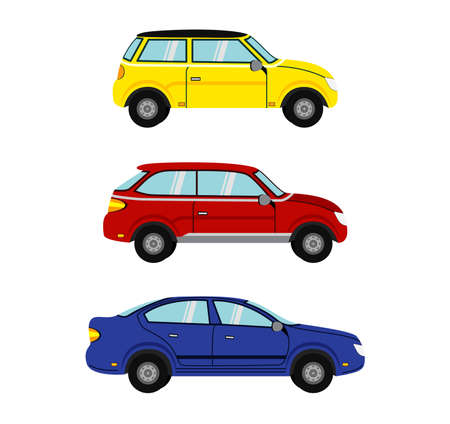 Flat cars set. Car vector template on white background.