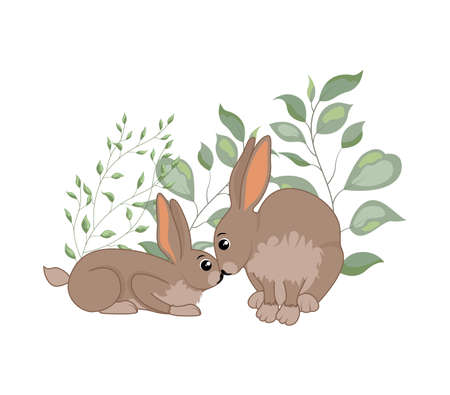 Cute woodland forest animals rabbit. Great for baby shower and kids design  イラスト・ベクター素材