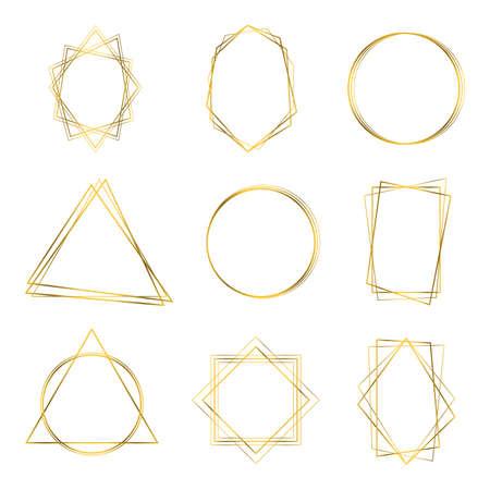 Golden geometric frames. Art deco style for wedding invitation, luxury templates, decorative patterns