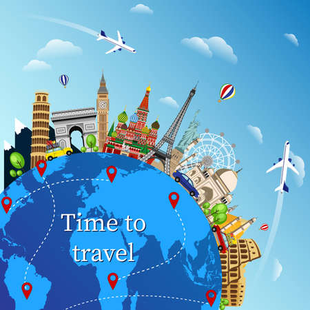 Travel with famous world landmarks. Time to travel. Travel composition with famous world landmarks. Travel and Tourism.  イラスト・ベクター素材