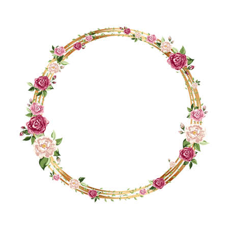 Gold round frame with flowers. Geometric crystal polyhedron shape on white background  イラスト・ベクター素材