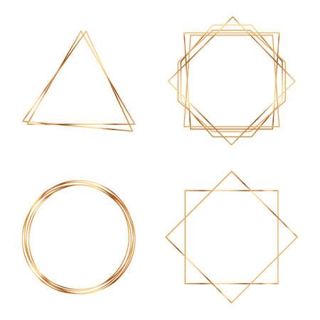 Golden geometric frames. Geometrical polyhedron. Modern abstract elements. Geometric Premium Gold Glitter Background, Wedding Cards