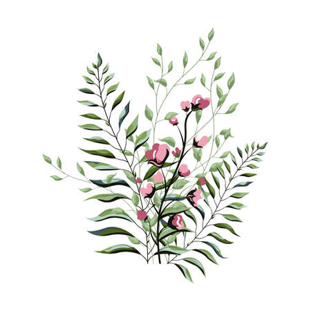 Delicate tropical leaves for the brides bouquet. A branch of mint-colored flowers. Bouquet of flowers with exotic Leaf isolated on white background.  イラスト・ベクター素材