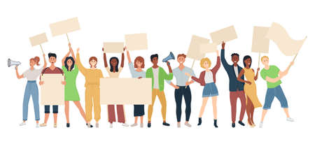 Crowd of protesting people with banners, flags. Political meeting and protest vector concept isolated. Street demonstration vector concept. Illustration of placard protester, political revolution  イラスト・ベクター素材