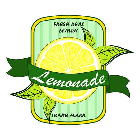 Label and sign of lemon and lemonade. Vegetarian juice brand sticker  イラスト・ベクター素材