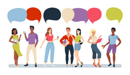 Casual People Group Chat Bubble Communication Social Network. Group of cartoon flat people talking with colorful speech bubbles.