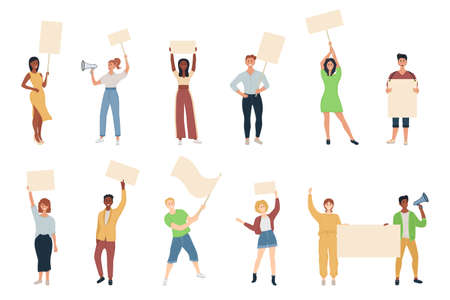 Young mens and womens standing together and holding demonstrating empty signs. Street demonstration vector concept.