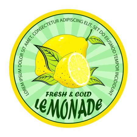 Lemonade badge. Lemon drink emblem badge, fresh fruits lemons juice vintage lemonade emblem.