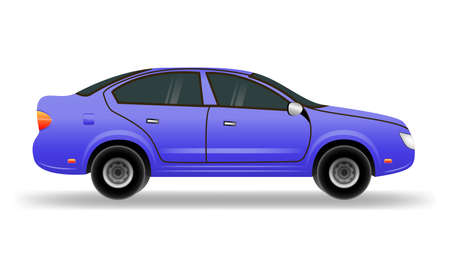 Blue car in flat style. Vehicle branding mockup.