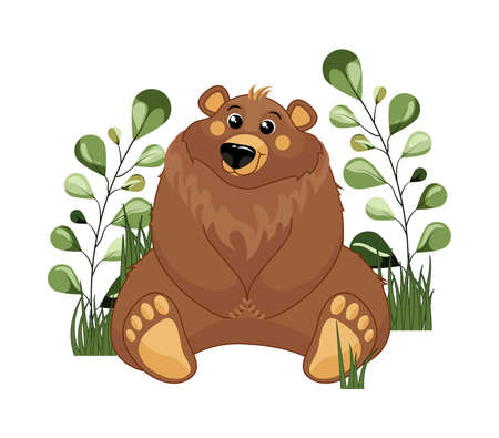 Cute woodland forest animal Bear. Great for baby shower and kids design isolated on white background.  イラスト・ベクター素材