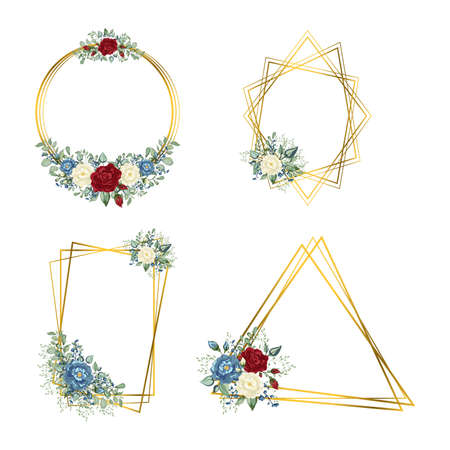 Gold Frames set with flowers. Geometric crystal stone polyhedron.  イラスト・ベクター素材