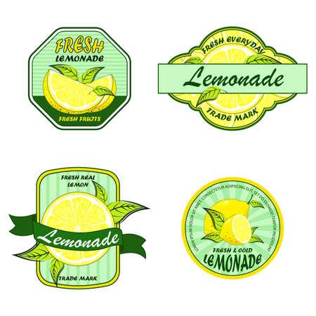 Lemonade badges. Lemon drink emblem badge.  Colorful logo and stickers for menu, bars, restaurants with lemon slices