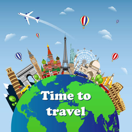Travel to World. Road trip. Tourism. Landmarks on the globe. Welcome to travel on the world concept traveling flat vector illustration. Worldwide traveling.