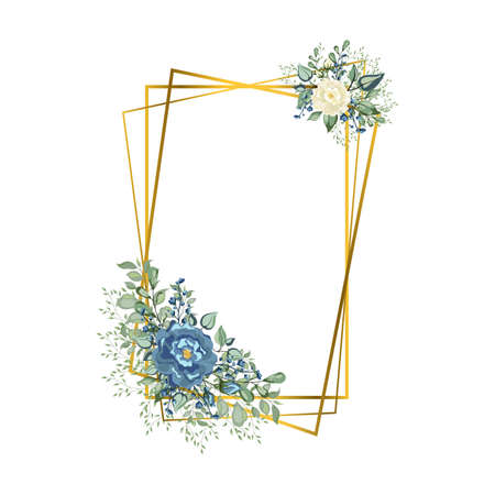 Square Frame golden crystal. Geometric crystal stone polyhedron mosaic shape. Floral wedding invitation card with rose,cotton,succulent,eucalyptus leaves in watercolor style