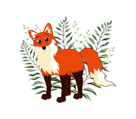 Cute woodland forest animals fox. Great for baby shower and kids design. Vector illustration isolated on white background.