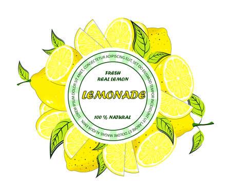 Lemon label. Retro badge for cold juice drinks lemonade.