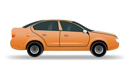 Orange car in flat style. Vehicle branding mockup. Car vector mock-up  イラスト・ベクター素材