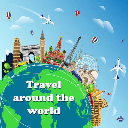 Travel to World. Road trip. Tourism. Landmarks on the globe. Travel on the world concept traveling flat vector illustration. Worldwide traveling.  イラスト・ベクター素材