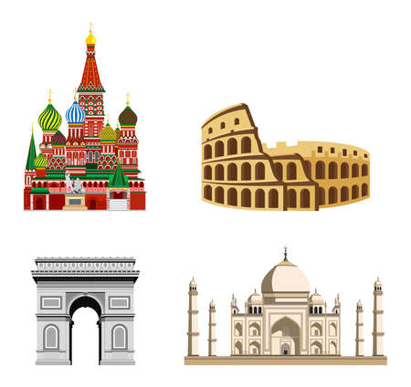 Travel, journey concept. Famous monuments of world countries. Colosseum, arc de triomphe, red square, blue mosque Ilustracja