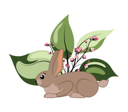Cute woodland forest animal rabbit with grass and flowers. Great for baby shower and kids design