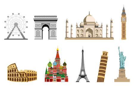 Travel to World. Road trip. Big set of famous landmarks of the world. Colosseum, Arc de Triomphe, Red Square, Blue Mosque, big ben, eiphil tower, ferris wheel, Leaning Tower of Pisa, Statue of Liberty