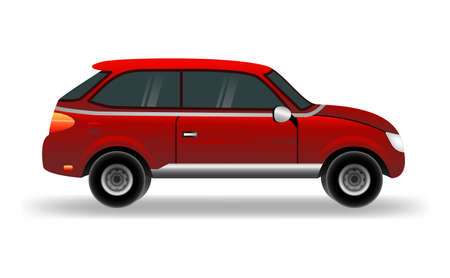 Flat vector cartoon style illustration of urban car. Car vector mock-up