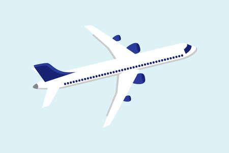 Flat airplane illustration. Large commercial passenger aircraft.  イラスト・ベクター素材
