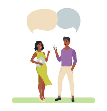 People Group Chat Bubble Couple Human Resources Colleagues. Discussing Communication Social Network Flat. Vector illustration Ilustracja