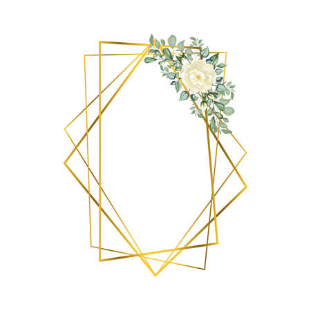 Frame golden crystal. Geometric crystal stone polyhedron mosaic shape. floral art deco style for wedding invitation cards, luxury templates, cover design, wedding logo