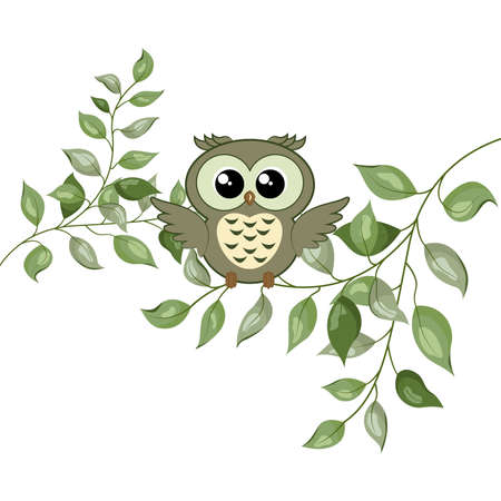 Cute woodland forest animal owl. Vector illustration
