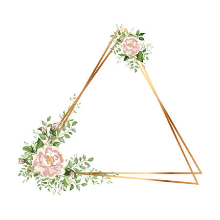 Gold triangle frame with flowers. Geometric crystal polyhedron shape on white background