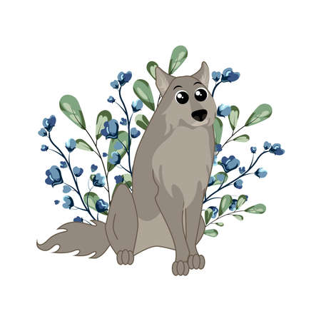 Cute woodland forest animal wolf with grass and flowers. Great for baby shower and kids design